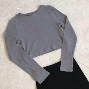 Gray Long Sleeve Crop Top S